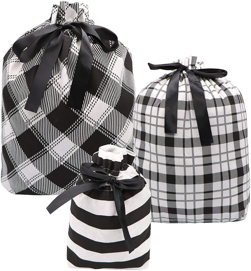 Christmas Fabric Gift Bags in Black Elegant Color