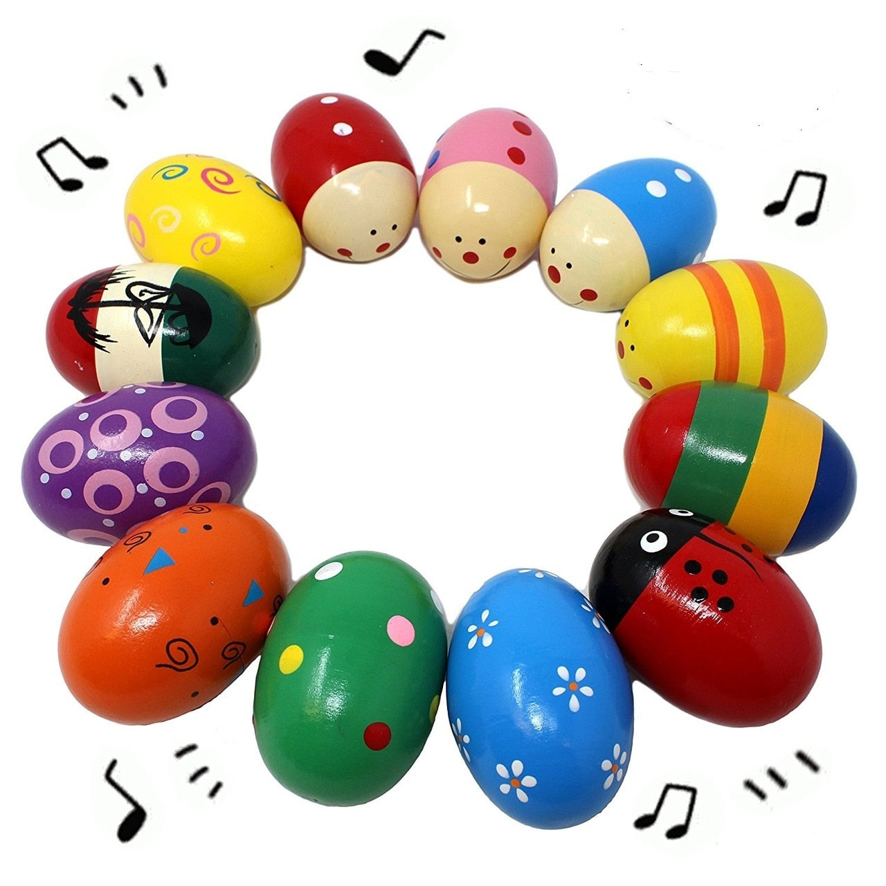 12 Pieces Wooden Eggs with Acoustic Sounds