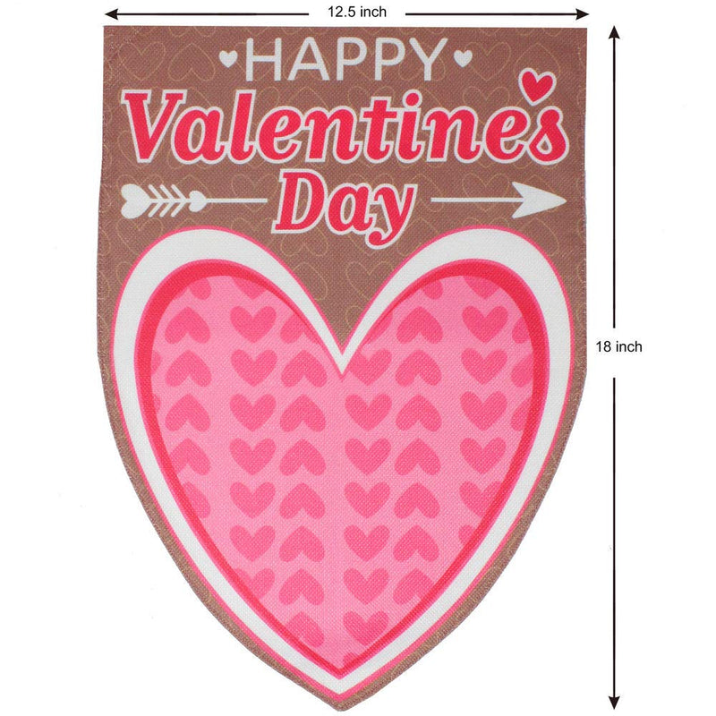 Valentines Day Burlap Garden House Flags