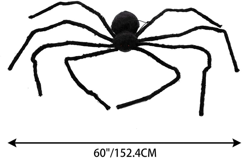 "60"" Black Hairy Spider With Sound"