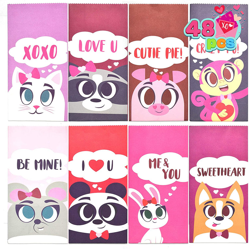 48 Pieces Valentines Day Treat Paper Bags with Different Characters