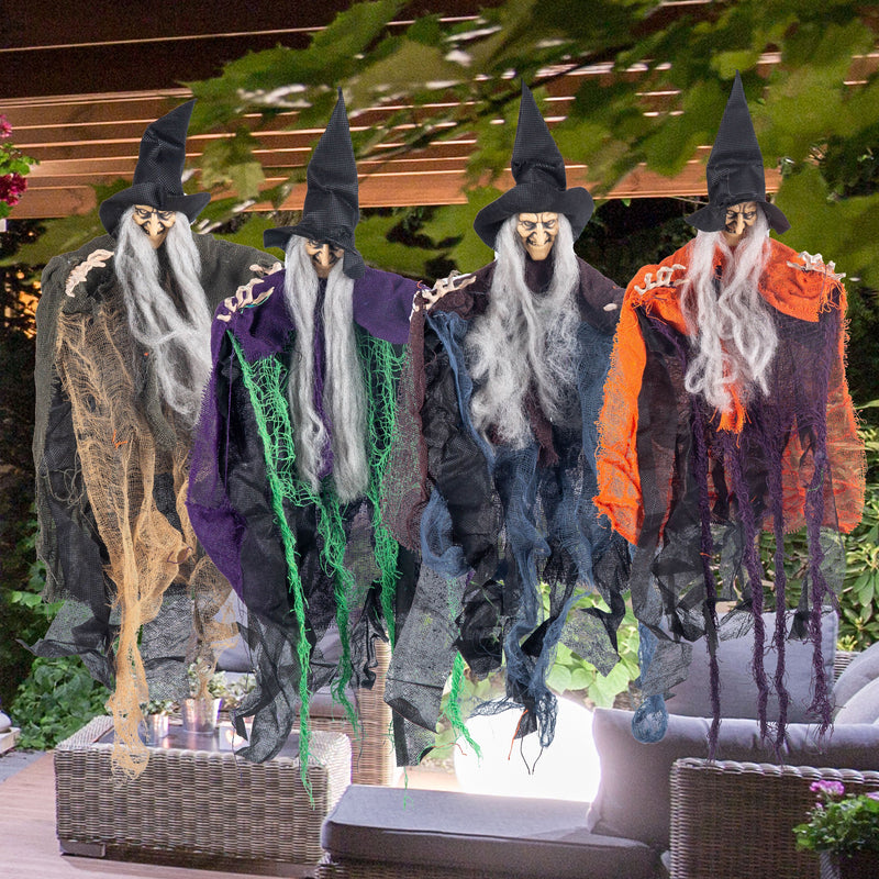"19.6"" Halloween Hanging Wicked Witch, 4 Pack"