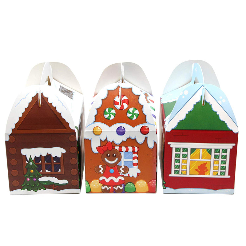 Christmas House Cardboard Treat Boxes, 24 Pcs
