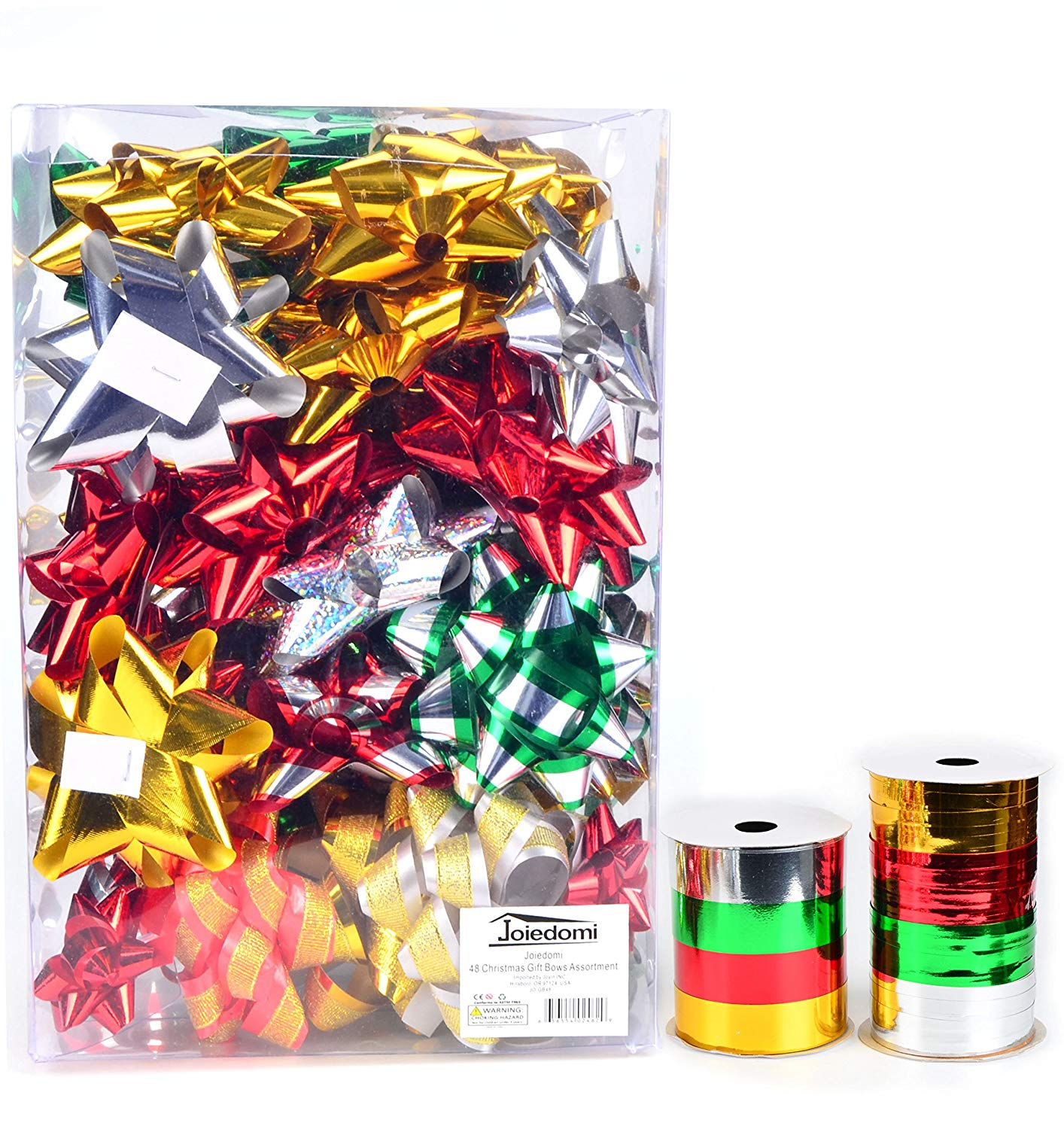 48 Self-Adhesive Bows & 8 Rolls of Christmas Curling Ribbons