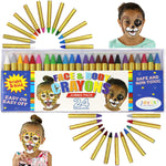 24-Color Face and Body Crayon Pack