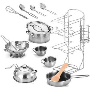 12 Pieces Stainless Steel Cookware and Tea Party Set