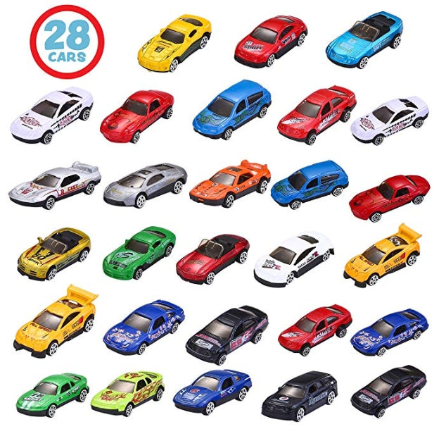 28-Count Valentines Day Gifts Cards for Kids with Die-Cast Racing Cars