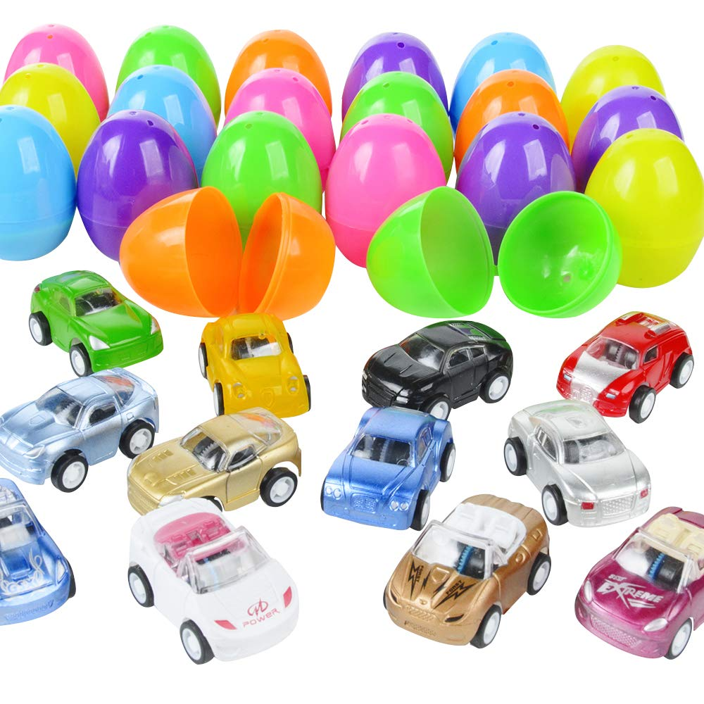 Easter Eggs Prefilled with Pull Back Vehicles