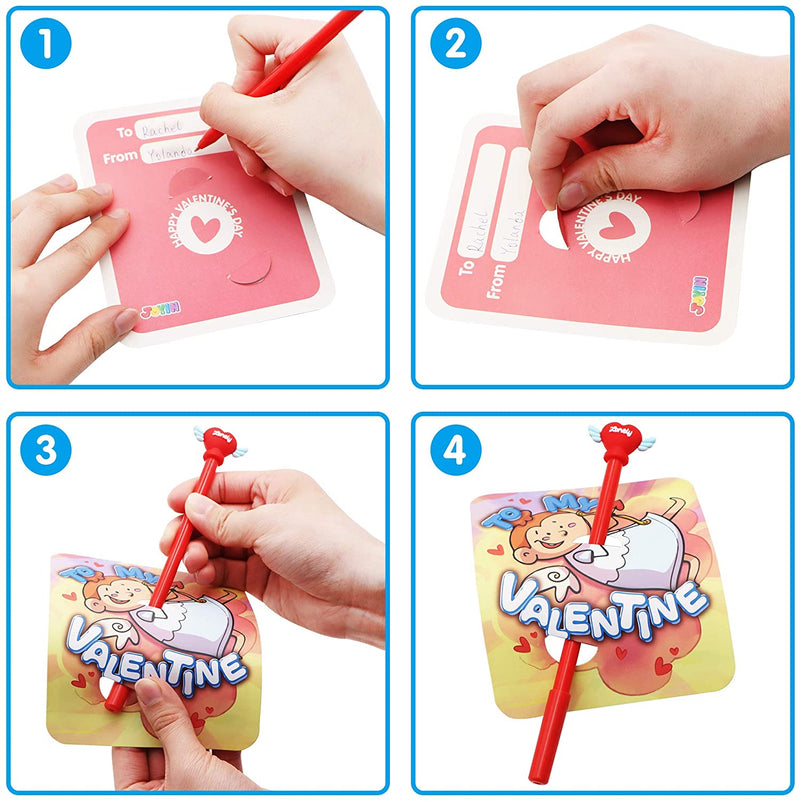 28 pcs Valentine Cards with Arch Pens for Kids