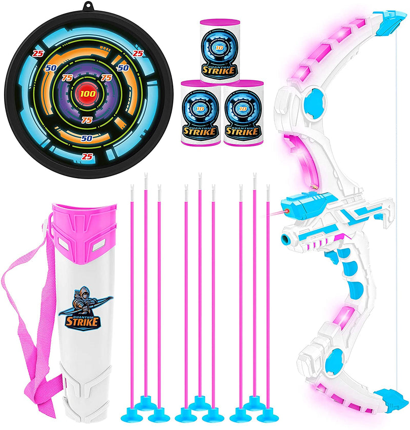 White Bow and Arrow for Kids with LED Flash Lights