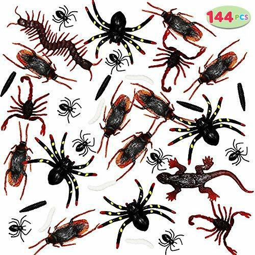 Realistic Plastic Bugs for Halloween Parties and Decorations, 144-Piece Set