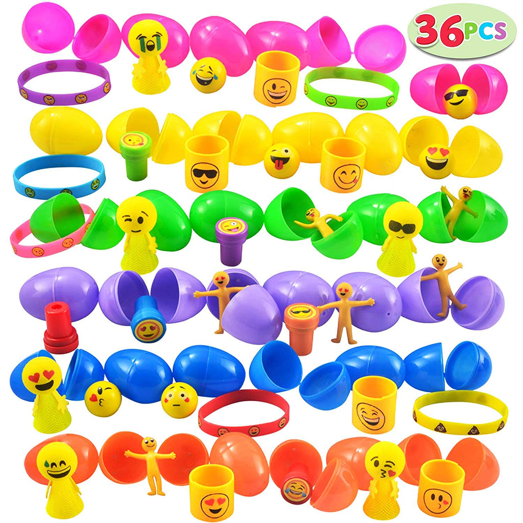 Easter Eggs with Emoji Toys with Stampers