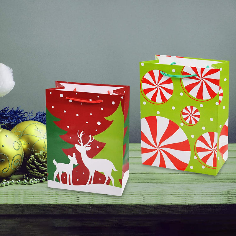 Christmas Gift Bags, Holiday Paper Goody Bags with Handles