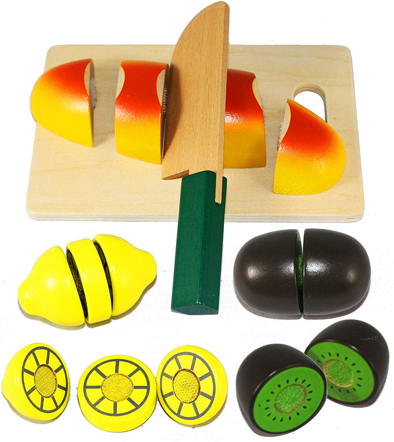 WOODEN PRETEND PLAY CUTTING FOOD TOY SET