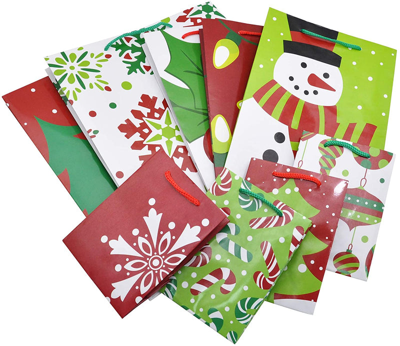 Christmas Goody Gift Bags with Handles Assorted Sizes