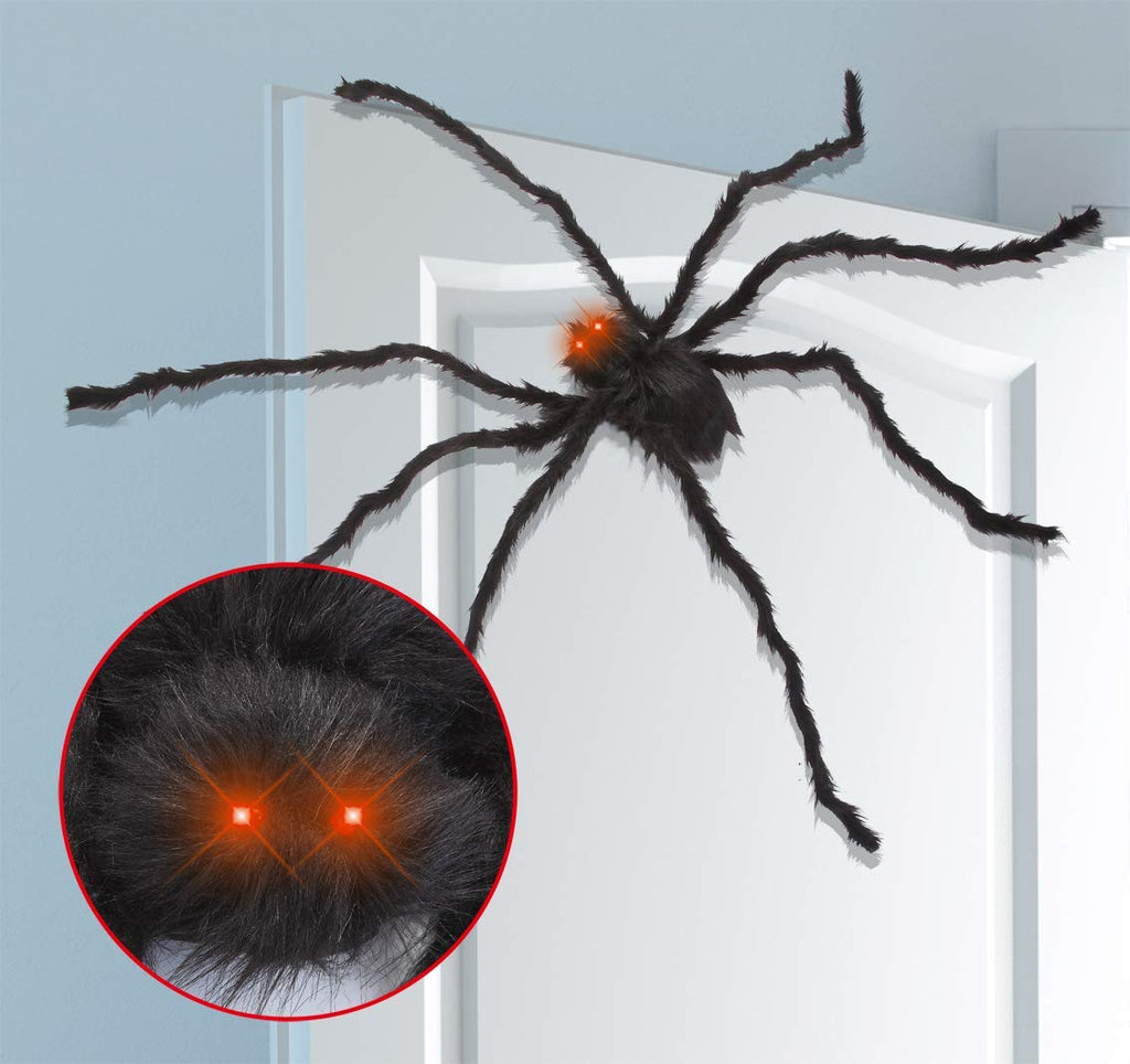 6.5ft LED Eyes Hairy Black Giant Spider for Halloween Indoor Outdoor Decorations