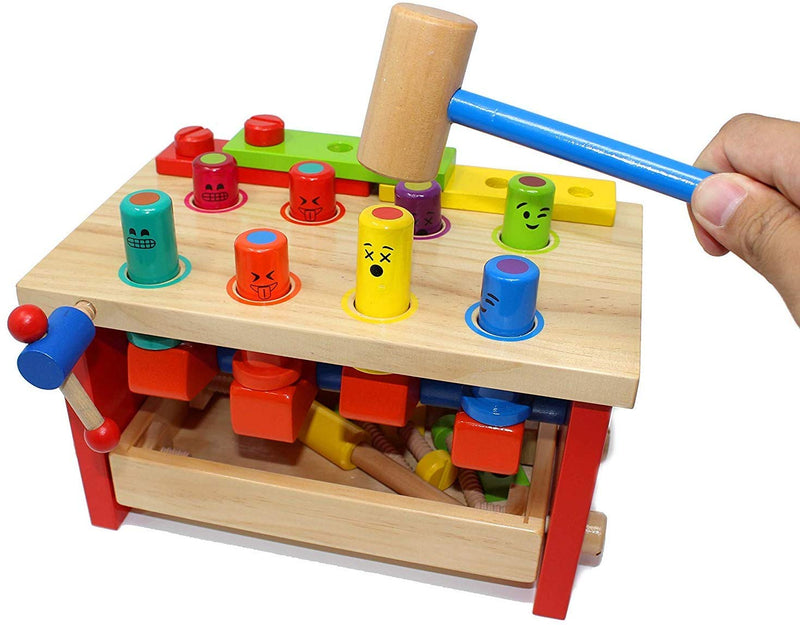 WOODEN POUNDING BENCH CLASSIC TOOL TOY WITH HAMMER