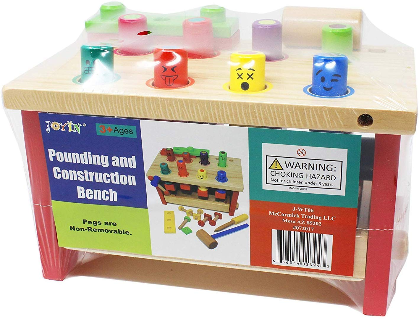 JOYIN Wooden Pounding Bench Classic Tool Toy with Hammer