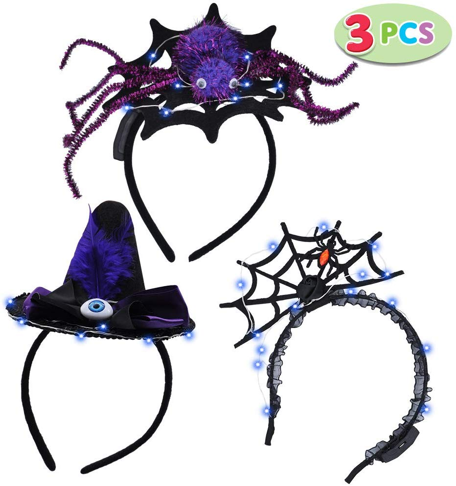 LED Halloween Headbands, 3 Pack