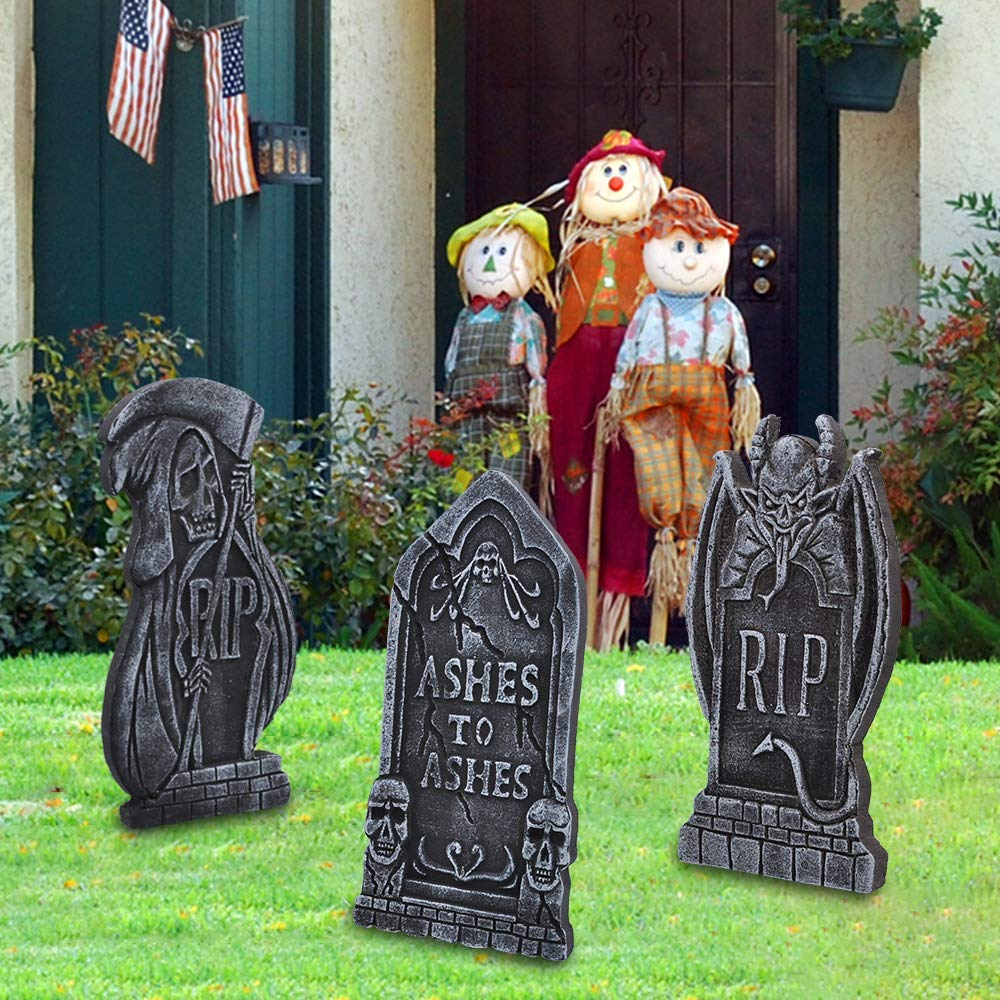 "Halloween 17"" Foam Tombstone (demon) with 12 Bonus Stakes"
