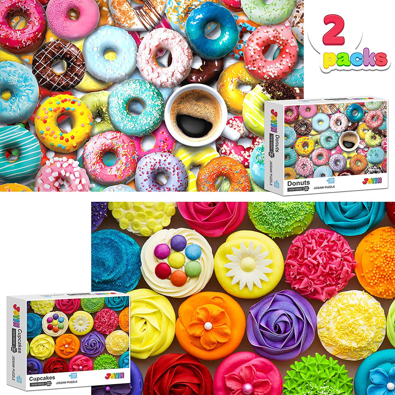 Two in One Jigsaw Puzzle 1000 Piece Repeated Seamless Snacks