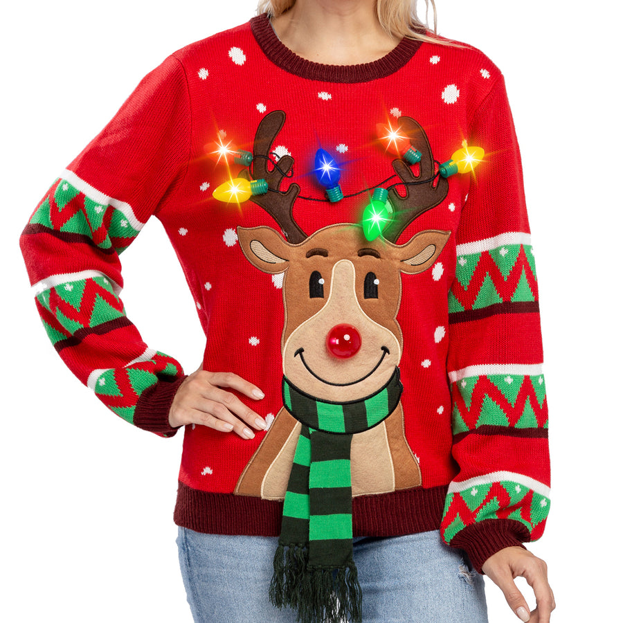 Womens LED Light Up Reindeer Ugly Sweater