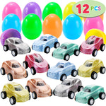 Easter Eggs Prefilled with Shiny Paint Color Pull Back Cars