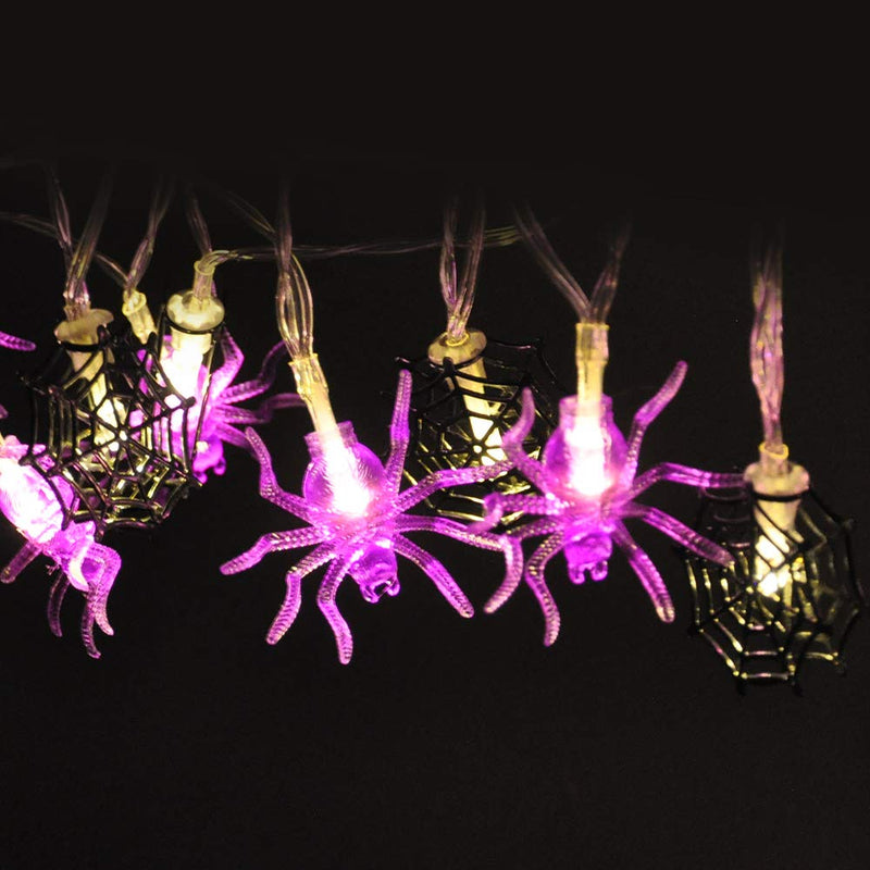 LED Spider Web/Spider Shape Warm White/Purple String