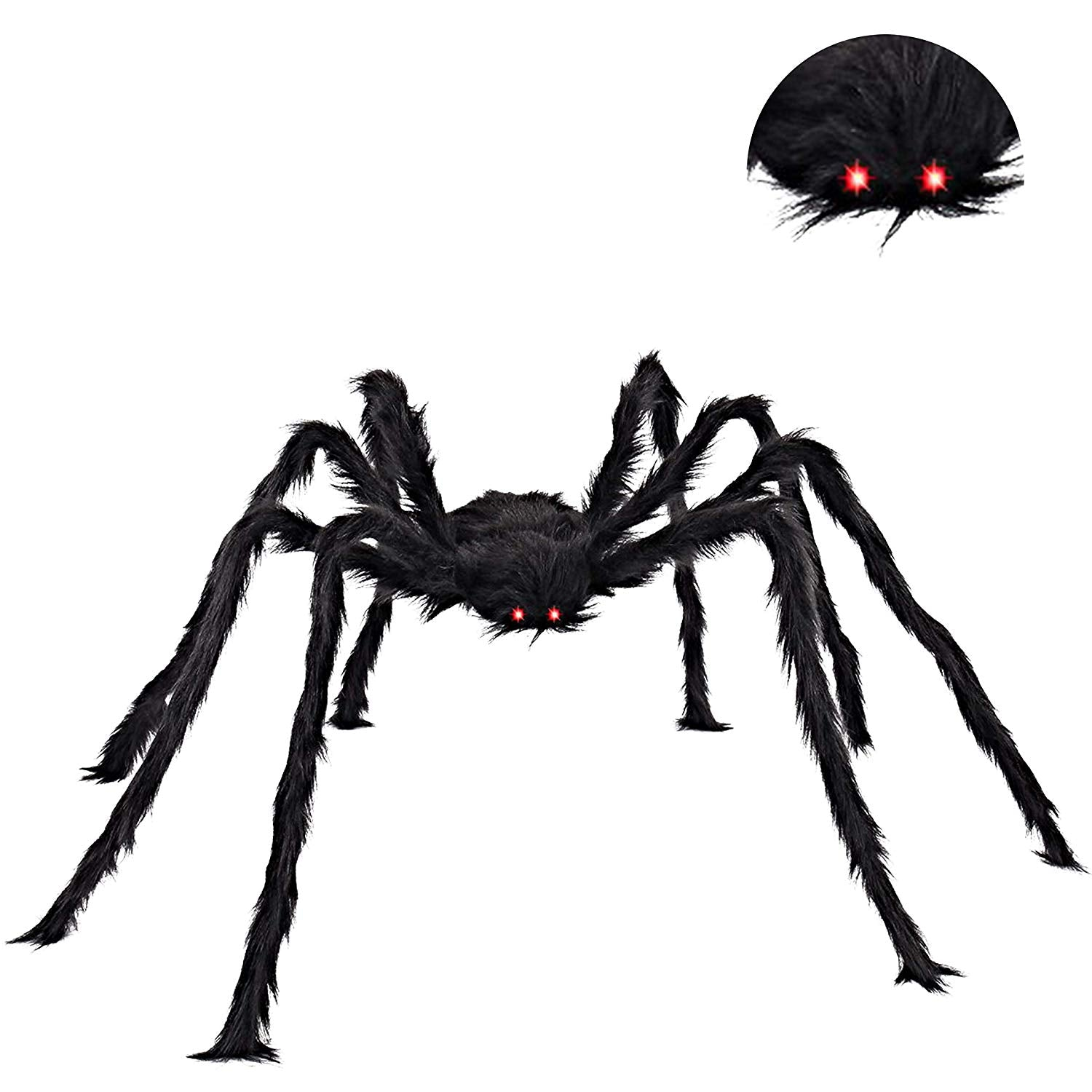 "60"" Realistic Hairy Halloween Spider with Red LED Eyes"