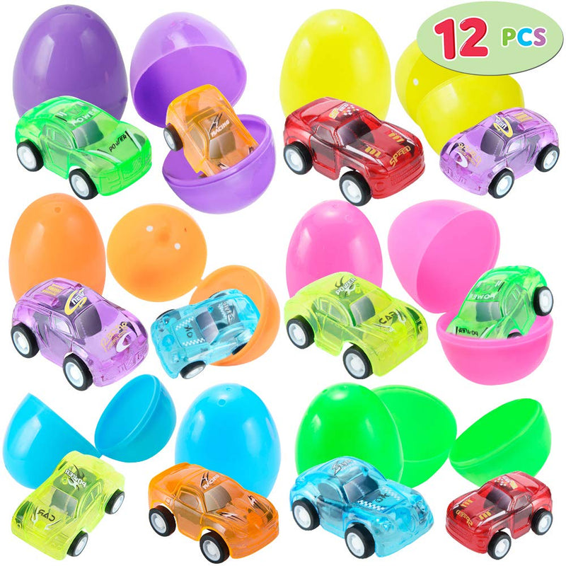 Easter Eggs Prefilled with Translucent Pull Back Vehicles