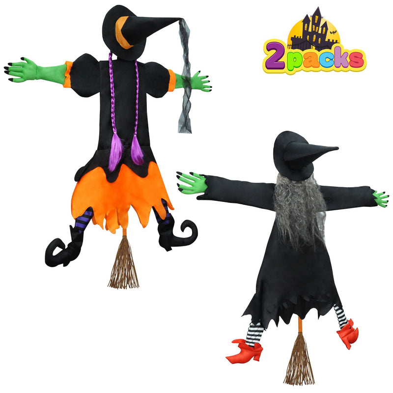 2 Pack Crashing Witch Into Tree Halloween Decoration