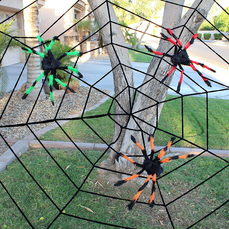 Colored Giant Halloween Spiders with Black Spider Web,