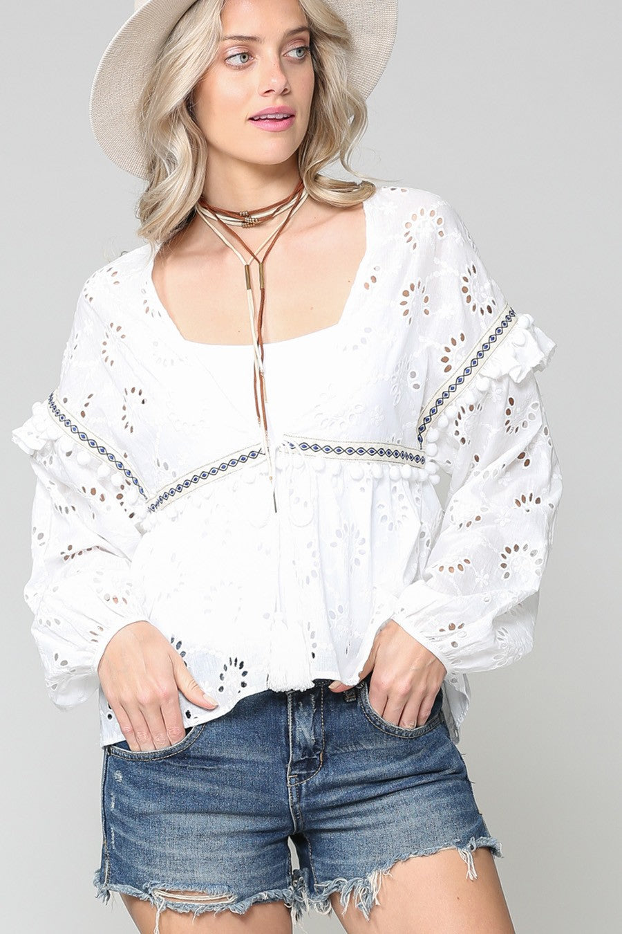 Taylor Tie Front White Ruffle Top