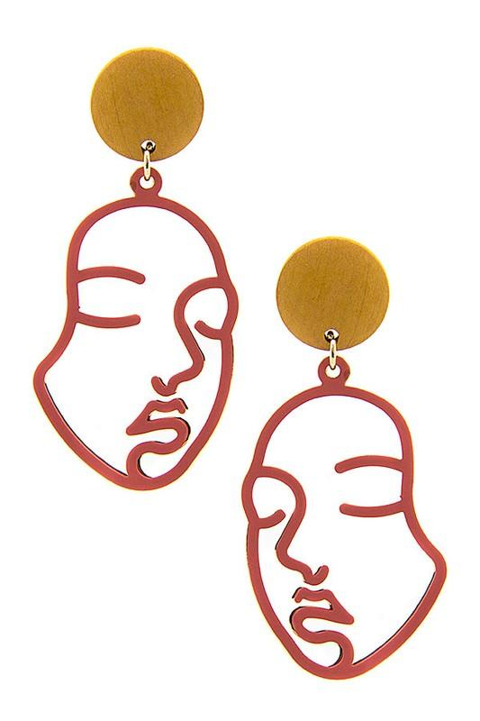 Red Gold Face Dangle Earrings - NovaandKnox.com