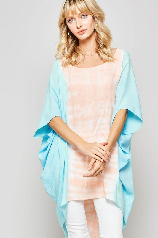 Coral Tie-Dye Oversized High-Low Poncho Tunic Top