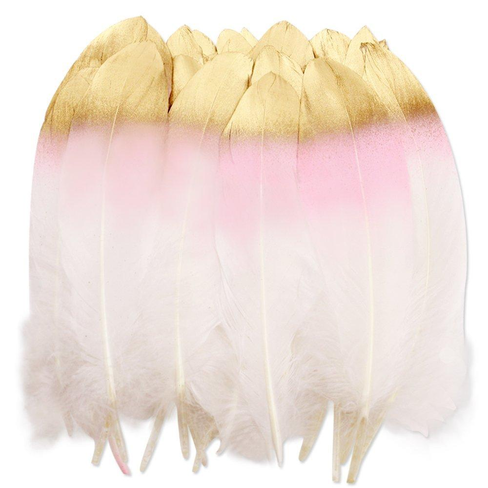 36PCS Pink and Gold Dipped Natural White Feathers - NovaandKnox.com