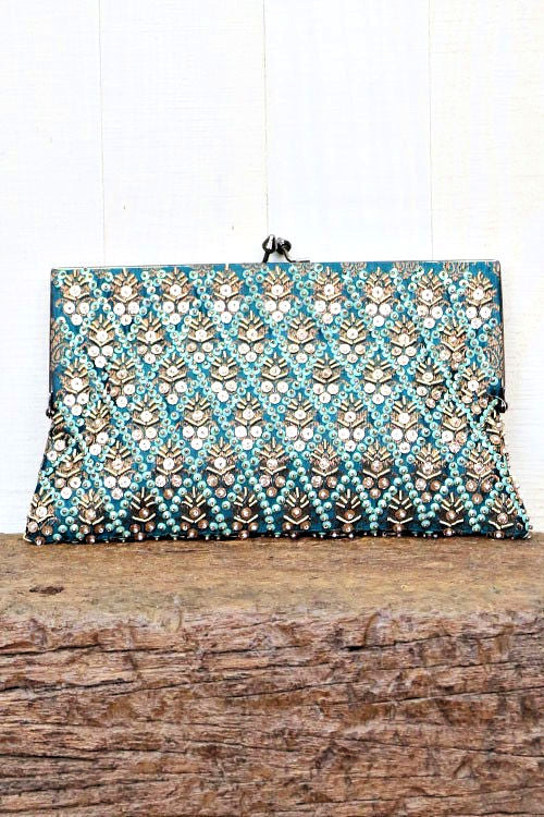 Hand-Beaded Vintage Inspired Silk Clutch