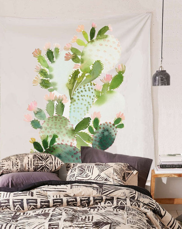 Brushed Watercolor Cactus Wall Tapestry - NovaandKnox.com