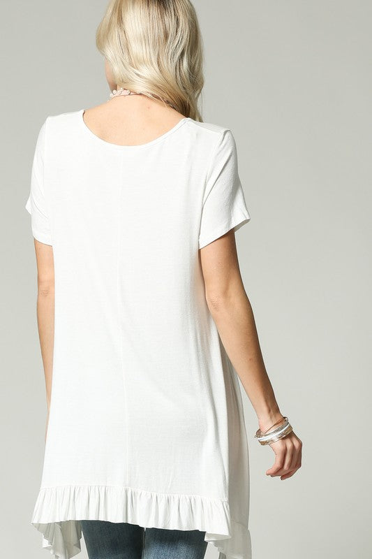 Kim Long Length Pleat Front White Tunic Top