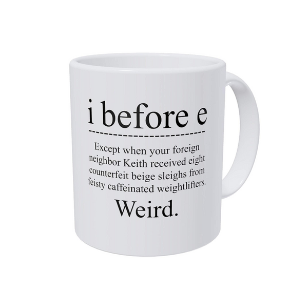Grammar I Before E Coffee Mug - NovaandKnox.com