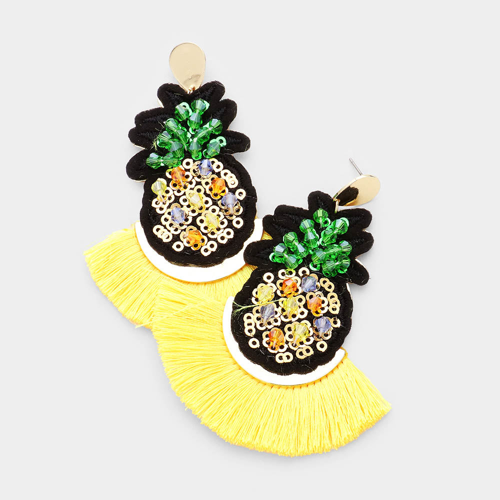 Bead Pineapple Fan Tassel Earrings