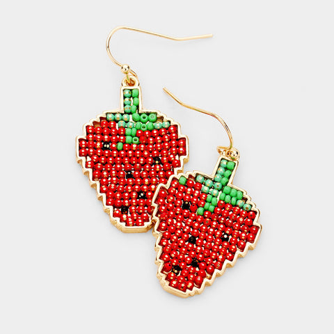 Strawberry Gold Trim Dangle Earrings