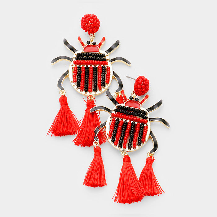 SEED BEADED LADYBUG TRIPLE TASSEL EARRINGS