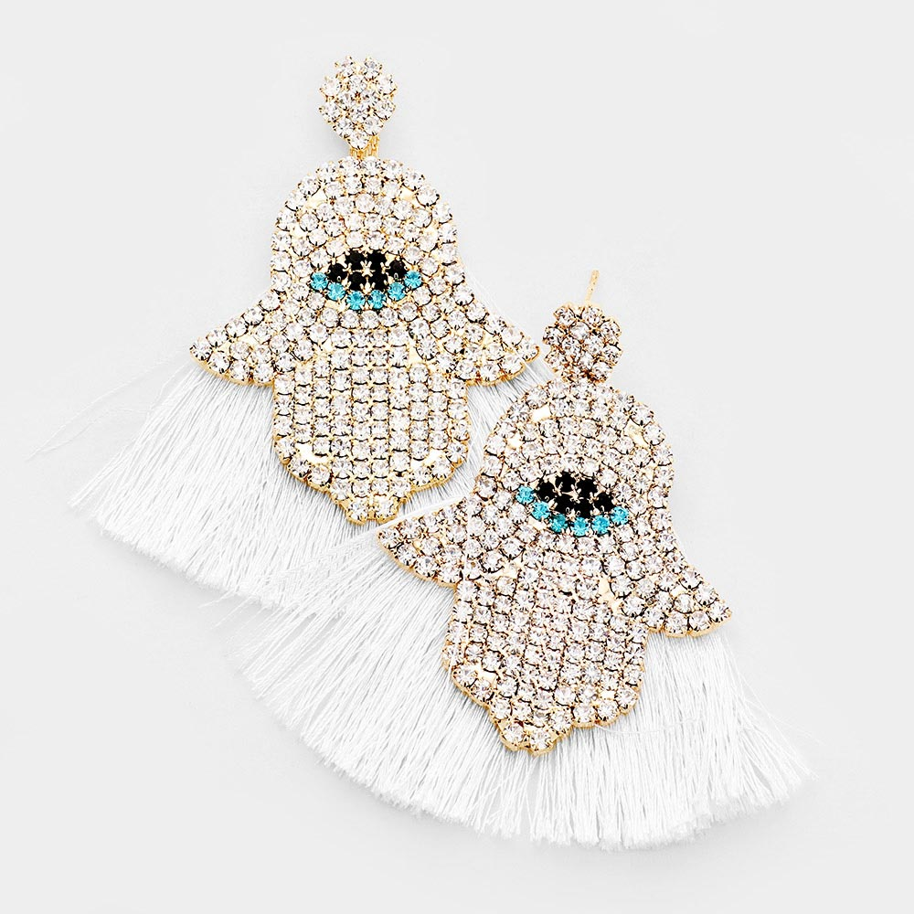 RHINESTONE HAMSA HAND FAN TASSEL DANGLE EARRINGS