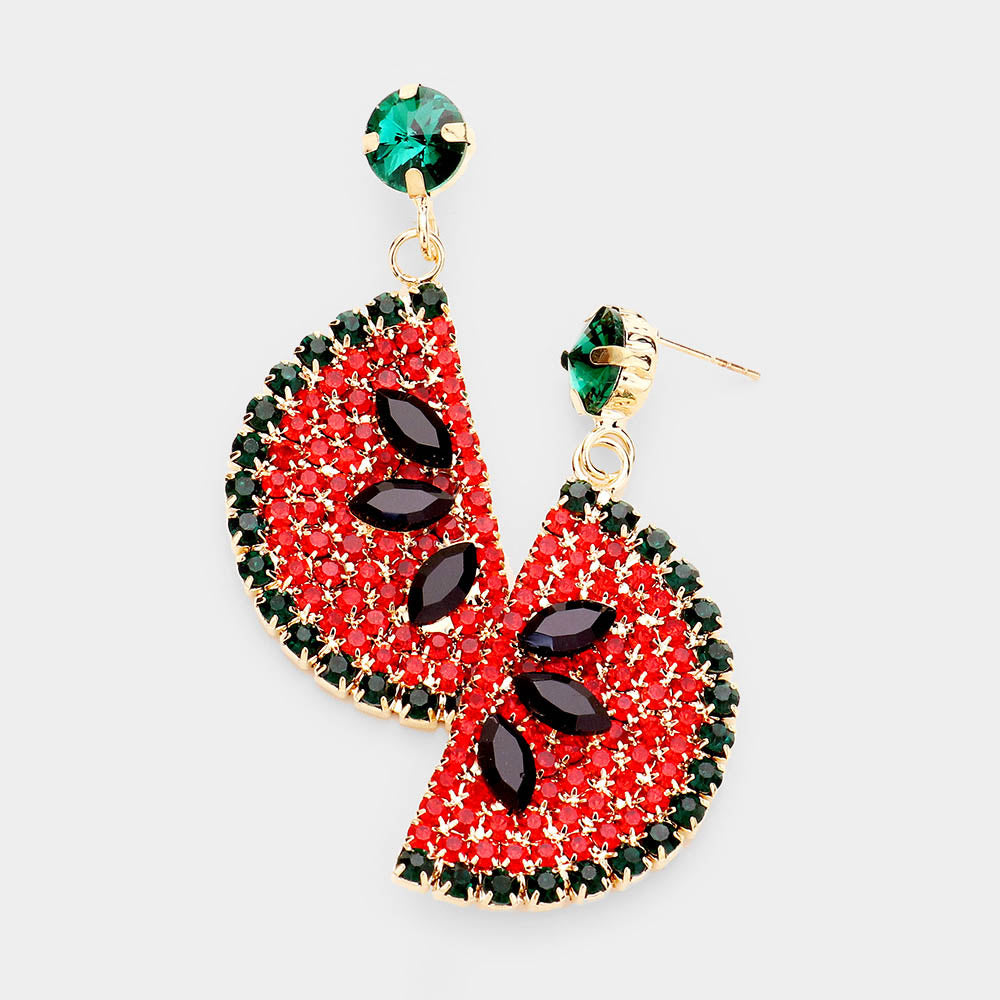 Rhinestone Watermelon Dangle Earrings