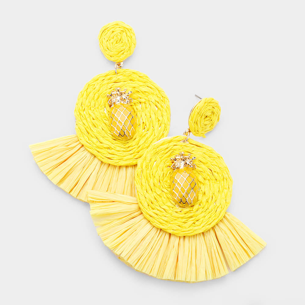 Enamel Pineapple Raffia Tassel Drop Earrings