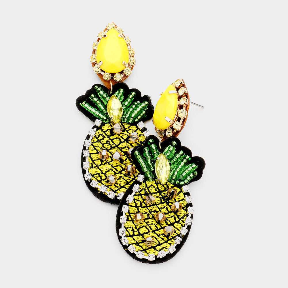 Bead Pineapple Dangle Earrings