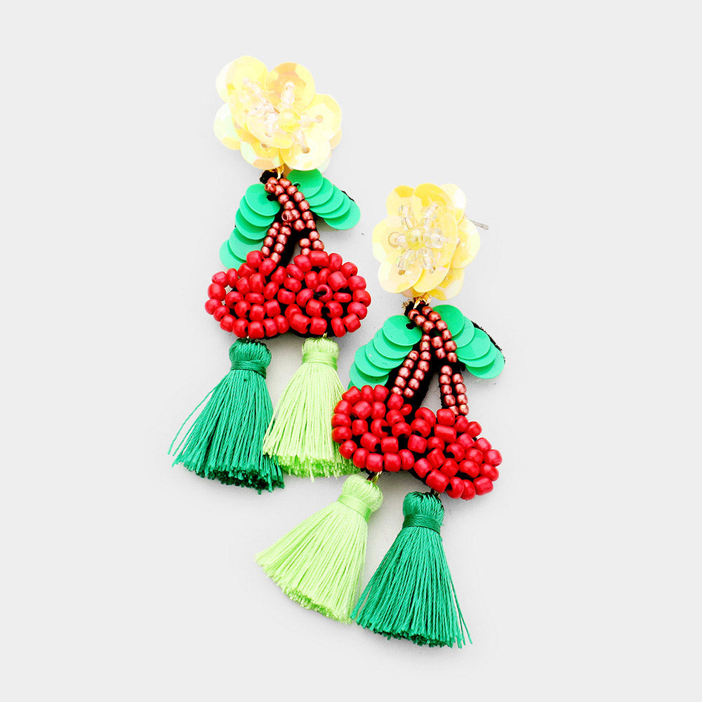 Sequin Flower Bead Cherry Tassel Earrings