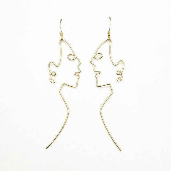 Side Profile Face Shaped Wire Earrings - NovaandKnox.com