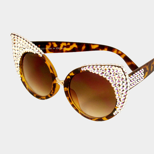 Simone AB Austrian Crystal Cat Eye Sunglasses - NovaandKnox.com